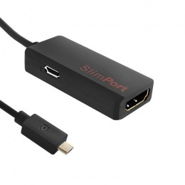 Adapter Slim Port męski | HDMI żeński + Micro USB | 0.15m